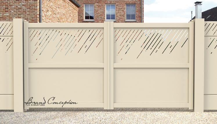 brand conception portillons et portails en aluminium thermolaqu. Black Bedroom Furniture Sets. Home Design Ideas